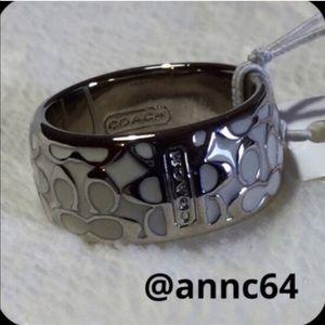 Coach Miranda Enameled Signature Ring Size 6